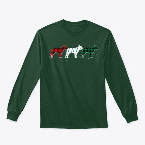 Funny Boston Terrier Red Plaid Christmas Forest Green T-Shirt Front
