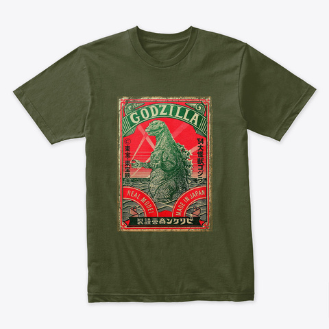 Vintage Godzilla Attack Military Green T-Shirt Front