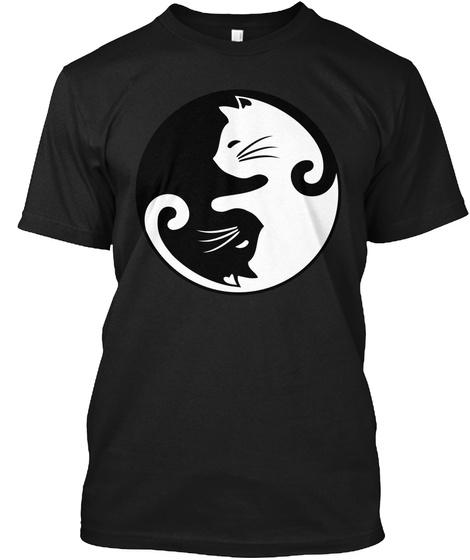 Cat Yin Yang Limited Edition Black T-Shirt Front