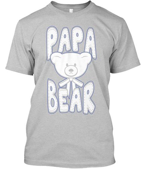 Papa Bear Light Heather Grey  T-Shirt Front
