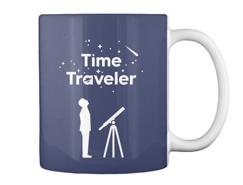 Time Traveler Man Mug [Int] #Sfsf Dark Navy Mug Back