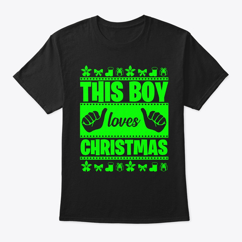 This Boy Loves Christmas Black T-Shirt Front