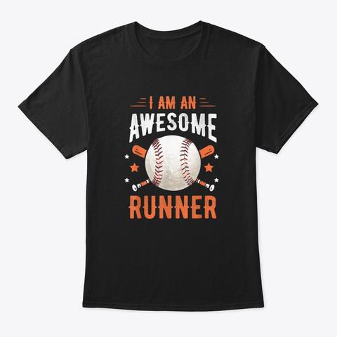 I'm An Awesome Runner Baseball Softball  Black T-Shirt Front