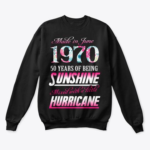 June 1970 50 Years Of Sunshine Black T-Shirt Front
