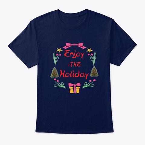 Christmas Holiday T Shirts Navy T-Shirt Front