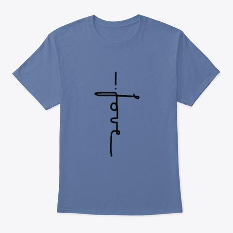 The Love Cross Denim Blue T-Shirt Front