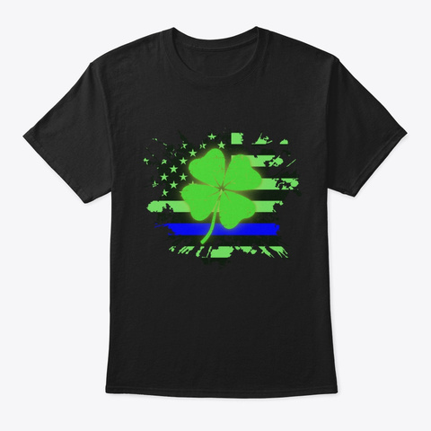 Thin Blue Line Police St Patrick's Day Black T-Shirt Front