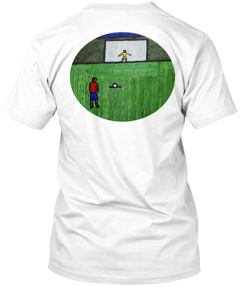Soccer Penalty Kick White T-Shirt Back