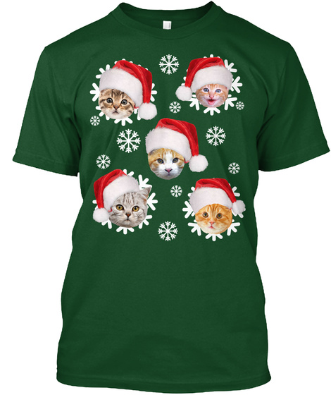 christmas cat snowflakes graphic shirts deep forest t shirt front