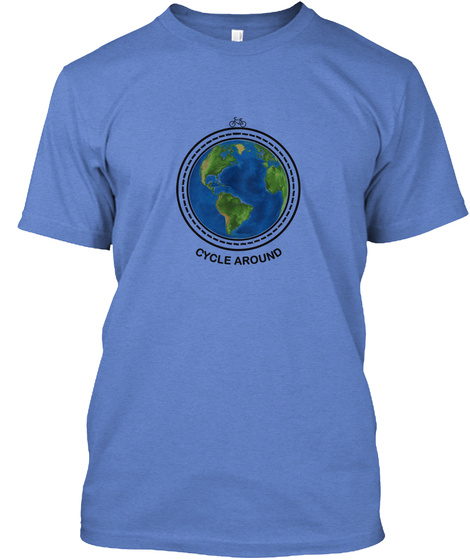 Cycle Around Heathered Royal  T-Shirt Front