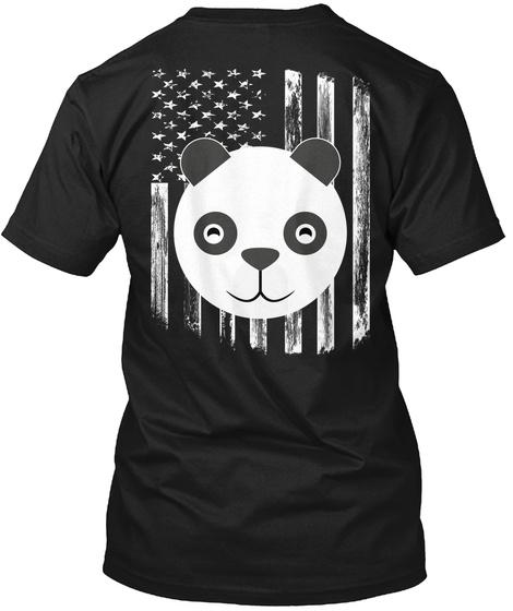 American Flag Panda 4th Of July Shirts Black T-Shirt Back
