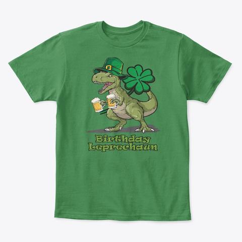Birthday Leprechaun Dinosaur Lover Gift Kelly Green  T-Shirt Front