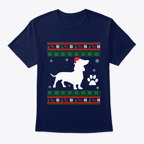 Dachshund Dog Christmas Ugly Sweater Navy T-Shirt Front