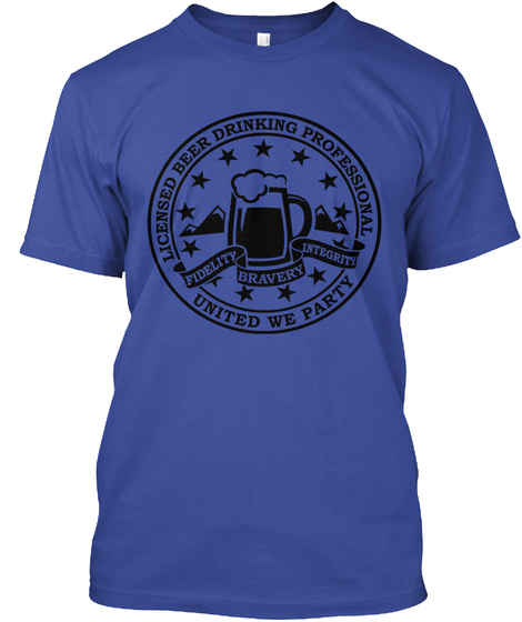 Licensed Beer Drinking Professional United We Party Deep Royal T-Shirt Front