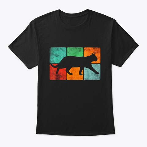 Retro Vintage Cat T Shirt 60s 70s 3x2 Black T-Shirt Front