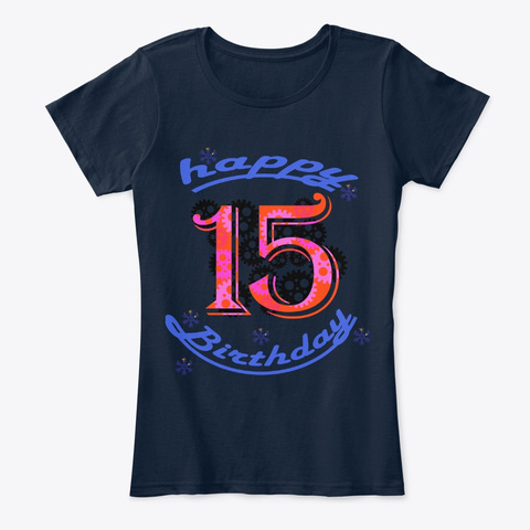 Happy Birth Day New Navy T-Shirt Front