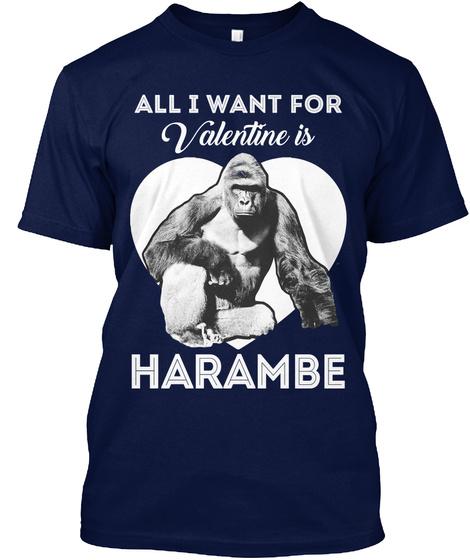 Harambe Valentine's Day T Shirt Navy T-Shirt Front