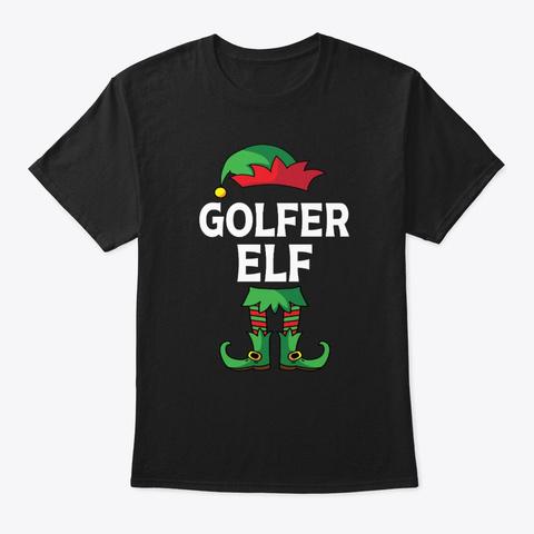 Golfer Elf Matching Family Christmas Black T-Shirt Front