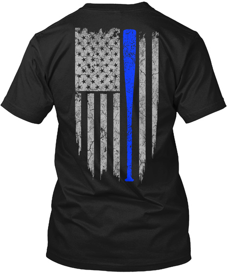 Softball   Usa Flag Black T-Shirt Back
