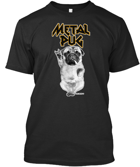 Metal Pug Black T-Shirt Front