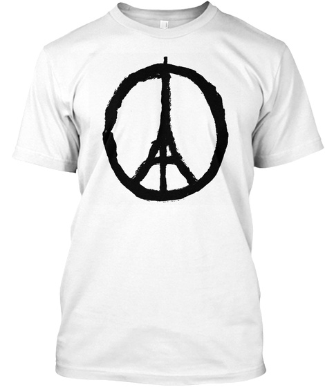 Iconic Symbol Of Peace For Paris   Blk White T-Shirt Front