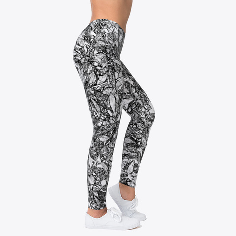 Leaf Scratch Printed Leggings For Women Standard T-Shirt Right