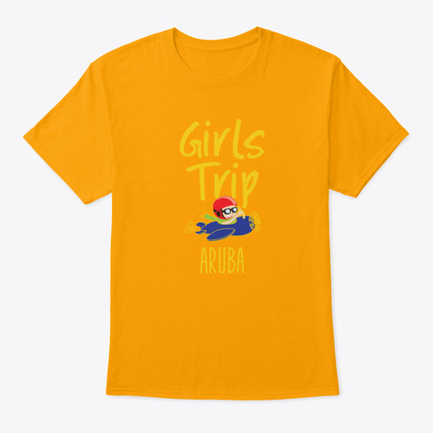Girls Trip Holidays Vacation Barcelona  Gold T-Shirt Front
