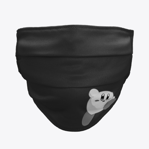 Kirby Face Mask   Monochrome Style Black T-Shirt Front