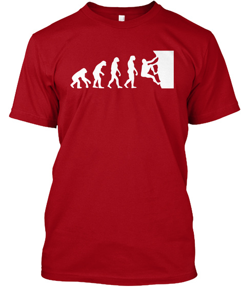 Climbing Evolution  T Shirts  Deep Red T-Shirt Front