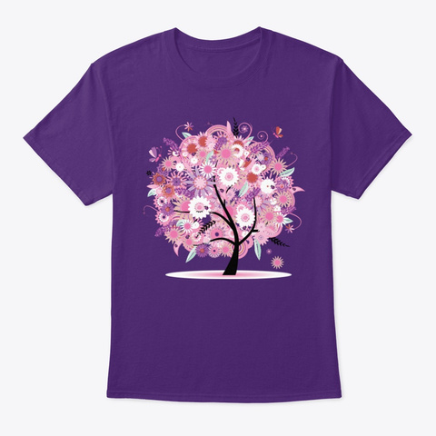 A Tree With Pink Flowers Purple T-Shirt Front