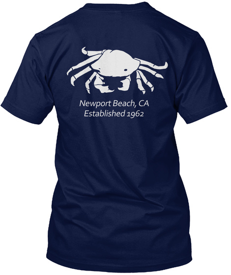 Newport Beach Ca Established 1962 Navy T-Shirt Back