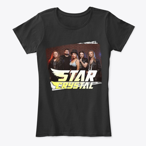 Star Crystal In Black Black T-Shirt Front