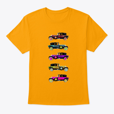 Colorful Cars Gold T-Shirt Front