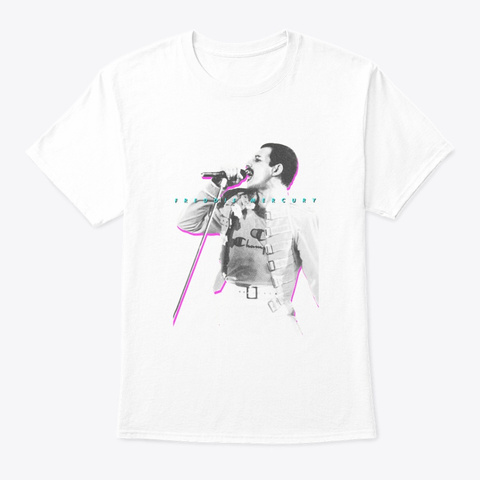 Freddie Mercury Official Neon Glow White T-Shirt Front