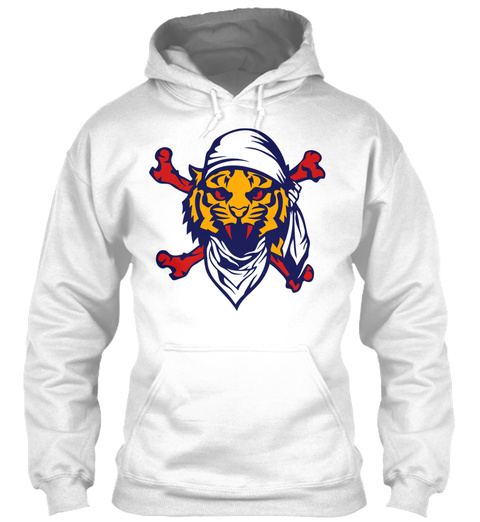 Pirate Scarf Tiger Skull Bones White T-Shirt Front