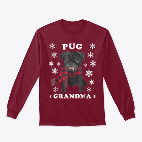 Family Matching Christmas Cute Pug Dog Cardinal Red T-Shirt Front