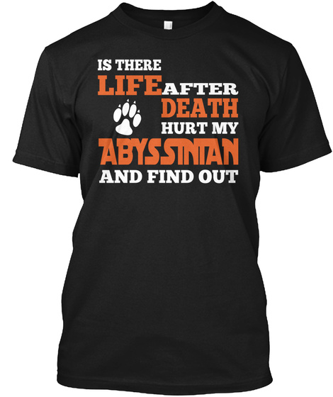Is There Life After Death Hurt My Abyssinian And Find Out Black Camiseta Front