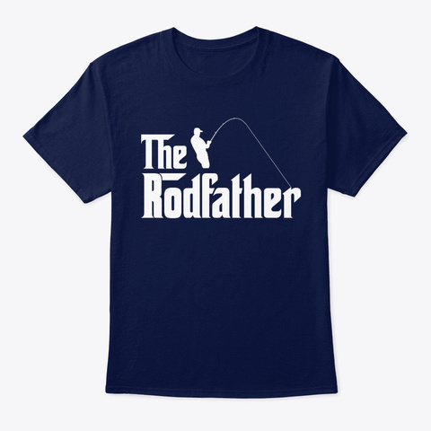 Fish The Rodfather Navy T-Shirt Front