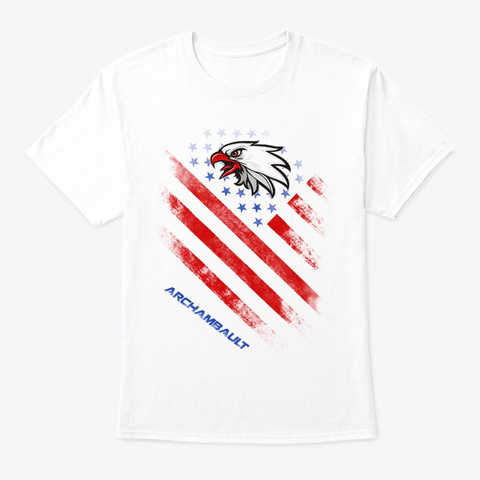 Archambault Name Tee In U.S. Flag Style White T-Shirt Front