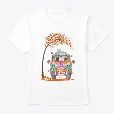 Frenchie On Hippie Bus In The Autumn Tee White T-Shirt Front