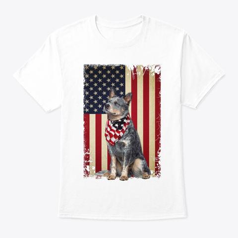 Heeler Smile Flag White T-Shirt Front