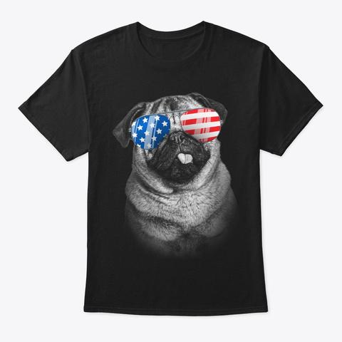 4th July Gifts Vintage Patriot Usa Pug Black T-Shirt Front