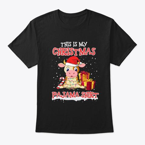 Merry Cow Christmas T Shirt Black T-Shirt Front