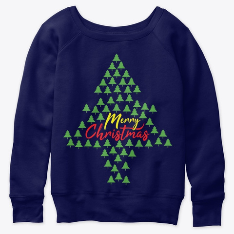 Merry Christmas Tree Navy  T-Shirt Front