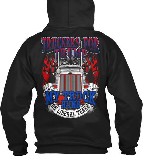 Trucker For Trump! Black T-Shirt Back