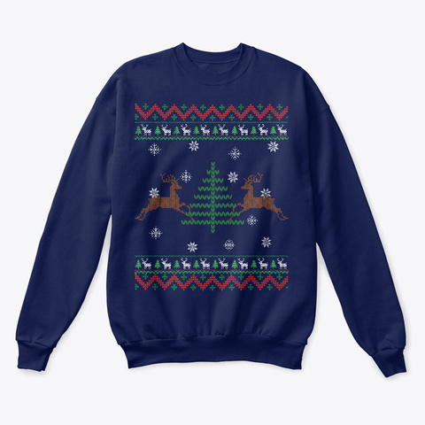 Ugly Christmas Leaping Reindeers Apparel Navy  T-Shirt Front