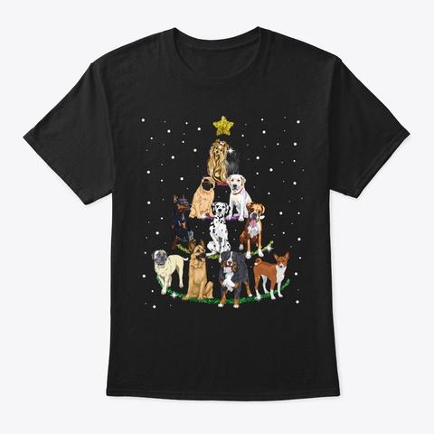 Dog Lover Christmas Tree T Shirt Black T-Shirt Front