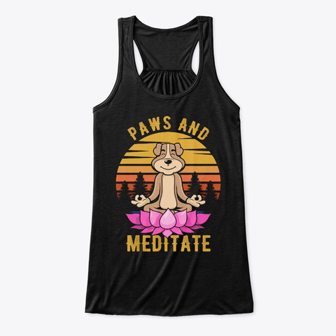 Paws And Meditate   Yoga T Shirt Black T-Shirt Front