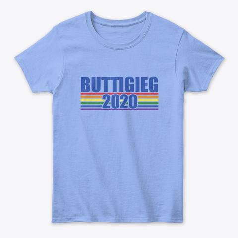 Buttigieg 2020 Retro Rainbow Art Light Blue T-Shirt Front
