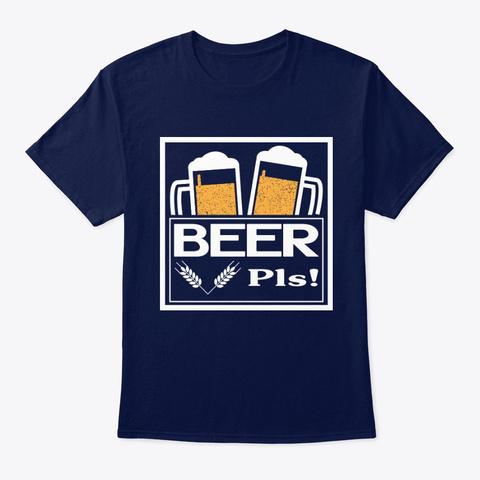 Beer Pls! With Irish Mug Navy T-Shirt Front